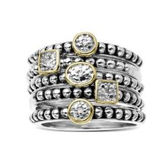 S Sterling Silver and 14k Yellow Gold Stacked Diamond Ring (0.02 cttw, I-J Color, I2-I3 Clarity), Size 9
