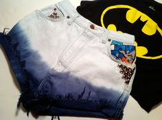 batman fashions shorts | Batman Fabric High Waisted Ombre Dyed Shorts Studs Hipster Size 24 1 2 ...