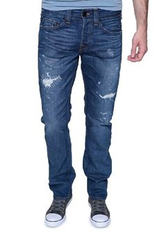 True Religion Slim Leg Jeans PHANTOM MATT SLIM, Color: Blue