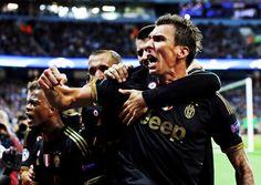 Mario Mandzukic celebrating his goal against Manchester City