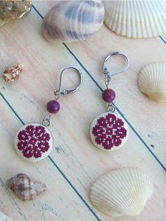 Dangle earrings for sensitive ears Purple regalite earrings