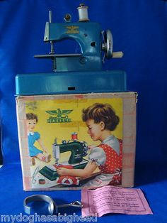 Antique Vintage Casige Toy Sewing Machine in Original Box Blue Made West Germany