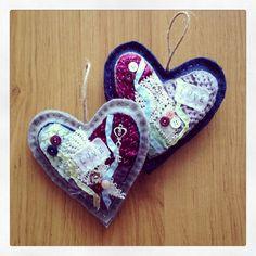 RESERVED for Tina KT - tattered bird, heart, owl