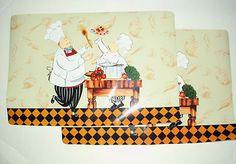 Set of 2 Italian Fat Chef Kitchen Placemats Vinyl | eBay