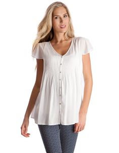 Casual White Pintuck Maternity Blouse | Seraphine Maternity