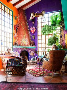 San Miguel de Allende, Guanajuato, Mexico: The interior of the house is covered in tile mosaic collages and decorated with McLauchlin's altars. Every wall and even ceilings are different colors. It is on an acre of land outside San Miguel Allende, Mexico. June 2009. (photo: Ann Summa)..