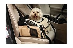 Pettom Pet Car Seat Carrier for Dog Cat Lookout Booster Seat Khaki Large