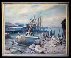An Emile Gruppe boatyard scene brought $14,630.