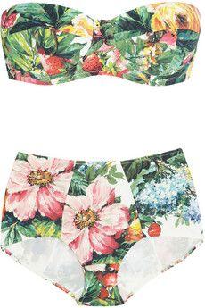 Floral and fruit-print bandeau bikini