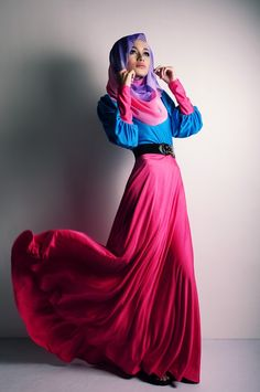Blue shirt, pink skirt and violet and pink hijab