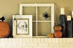 The Wicker House: Spooky Halloween Mantel