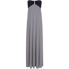 Heidi Klein Bandeau Striped-Jersey Maxi Dress ($155) ❤ liked on Polyvore featuring dresses, grey, striped jersey dress, jersey maxi dress, striped maxi dress, gray maxi dress and slit dress