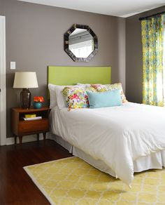 Love this guest room - Benjamin Moore Sparrow Bedroom Colour Palette, Bedroom Wall Colors, Bedroom Decor, Bedroom Sitting Room, Master Bedroom, Green Headboard, Young House Love, Cottage Living Rooms, Pretty Bedroom