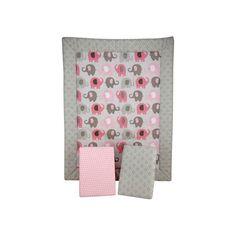 Elephant Time Pink Porta Portable Baby 2 Piece Crib Bedding Set