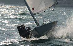 RYA trainer Shaun Priestly using the foils on Lake Garda, Italy