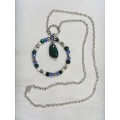Ring pendant w Budstone chain necklace, 82cm