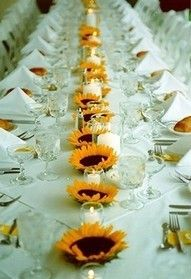 Sunflower table runner - so simple. A DIY idea that adds color and a summer-like touch of fun to reception tables. Wedding Rehearsal, Rehearsal Dinners, Wedding Reception, Wedding Table, Bridal Table, Party Decoration, Wedding Decorations, Table Decorations, Yellow Wedding