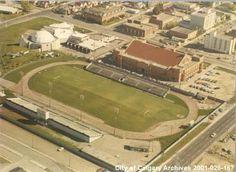 Mewata Stadium, home of the Calgary Kickers/Strikers CSL. Soccer League, Calgary, Baseball Field, Vancouver, City, Baseball Park