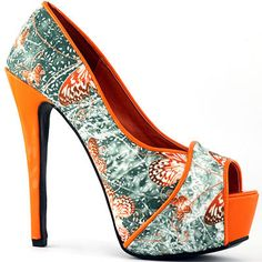 LF80813 Womens Pink/Orange Peeptoe Butterfly Print Platform Pumps