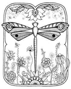Dragonfly Garden Abstract Doodle Zentangle ZenDoodle Paisley Coloring pages colouring adult detailed advanced printable Kleuren voor volwassenen coloriage pour adulte anti-stress kleurplaat voor volwassenen