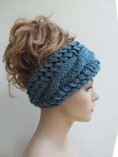 Cable Headbands Knit Ear Warmers Button Aqua Teal Blue Fall Accessories Headcovers Womens Girls Headwraps