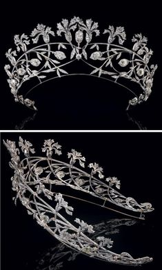 Diamond tiara decorated with 12 carnations, foliage and flower buds with openwork 14 large old cut diamonds made by Joseph Chaumet c. Royal Jewelry, Jewelry Box, Jewelery, Silver Jewelry, Fine Jewelry, Royal Crowns, Royal Tiaras, Tiaras And Crowns, Diamond Tiara