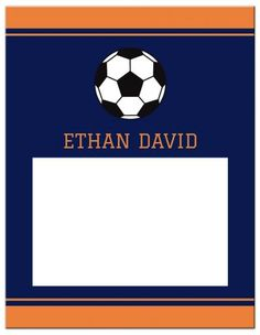 Soccer note card in orange and navy blue with soccer ball. Bold, masculine design ideal for a soccer themed birthday party thank you card or bar mitzvah thank you card. More bar mitzvah stationery at happilyprinted.com
