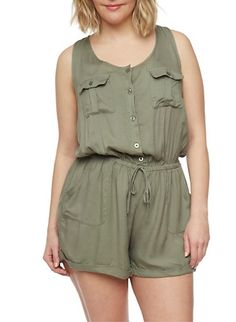 Plus Size Sleeveless Button Front Romper,OLIVE