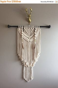 FLASH 40% OFF 30 Large Macramé Wall Hanging Black Rod