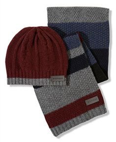 Matchy matchy Tommy Hilfiger #Beanie #Scarf #Cable #Patchwork #Mens #macys BUY NOW!