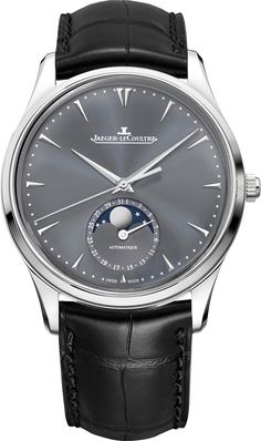 Jaeger-LeCoultre Master Ultra Thin Moon white-gold and leather watch Fine Watches, Cool Watches, Monsieur Jean, Patek Philippe Aquanaut, Jaeger Lecoultre Watches, Patek Philippe Calatrava, Watches Photography, Bracelet Cuir, Luxury Watches For Men