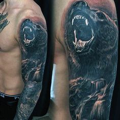 Masculine Roaring Bear Waterfall Mens Full Sleeve Tattoo