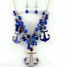 Chunky Necklace Name:Anchor MATERIAL:Alloy Zinc closure,  blue crystal beads Jewelry Necklaces