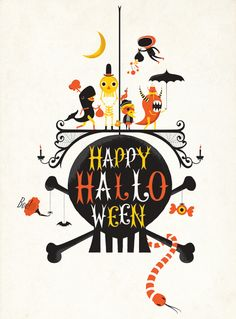 I like how quirky the characters are in this illustration, as well as the use of Halloween colors.