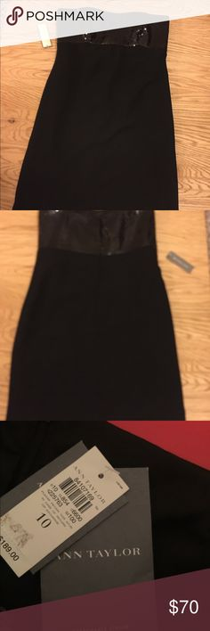 NWT Black Sequin Ann Taylor Holiday Dres Beautiful dress brand new black sequins top. Has sleeve straps if needed  $189 Size 10 Ann Taylor Dresses Mini