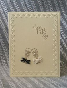 "Stampin' With Jamie: Stampin' Up!'s Happy Hour and Word Play stamp set, Framed Tulips embossing folder, pearl embellishments, 1/8"" Taffeta ribbon"