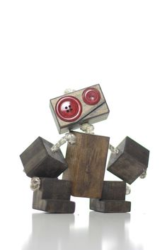 Toy robot wood robot children's gift handmade by TANGLeAndFoLd
