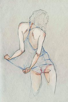 Week 6 Life Drawing - Pencil and Watercolor Illustrations by Adara Sanchez from Spain. I love the line work and movement in this drawing. Life Drawing, Figure Drawing, Drawing Sketches, Painting & Drawing, Art Drawings, Colour Drawing, Drawing Style, Art And Illustration, Illustrations