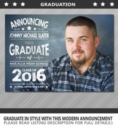 Graduation Announcement, Senior Graduation Announcement, High School Graduation, College Graduation, Printable or Printed by WolcottDesigns on Etsy