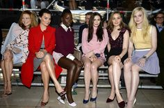 Lupita with actresses, Adèle Exarchopoulos, Léa Seydoux, Margot Elise Robbie, singer Rihanna, Elizabeth Olsen, Bella Heathcote and Elle Fanning at the Miu Miu show, Paris Fashion Week Womenswear Fall/Winter 2014-2015 on March 5, 2014. — in Paris, France.