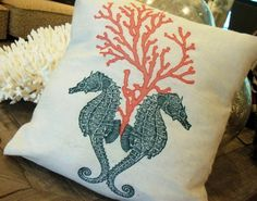 Seahorse & Coral  Pillow, 12x12, beach, seashore, nautical, summer, coastal on Etsy, $13.50