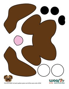 Pug Face Pattern Pieces - click for full size printable