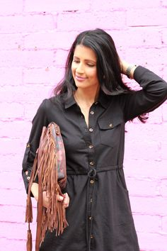 Lulus dress, Fringe leather bag by Patricia Nash Designs