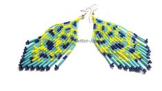Bright native American earrings, long and sweet, made of Toho beads and metal earwires. Total lenght (without earwires):8 cm (3,15)    Width:3,5 cm