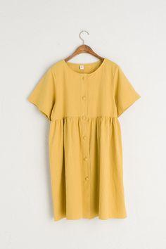 Round Neck Button Front Babydoll Dress, Mustard