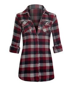 Look at this Red & Charcoal Plaid Flannel Button-Up on #zulily today!