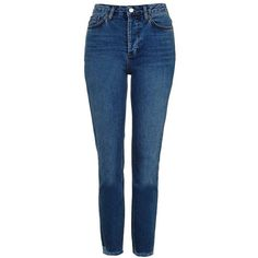 Women's Topshop Raw Hem Straight Leg Jeans (€75) ❤ liked on Polyvore featuring jeans, pants, bottoms, calças, stretch denim jeans, ankle length jeans, medium wash jeans, blue jeans and mid rise straight leg jeans