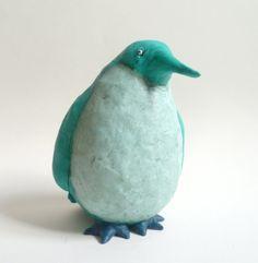 Green Penguin  Green Animal Bird Figurine by AlanJamesdesigns