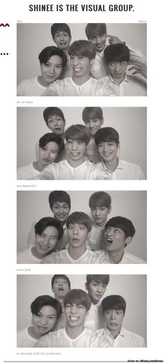 SHINee Family photo. I don't even know that the person right next to jonghyun is minho until he had a 'normal' pose