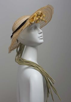 taupe-colored wide brimmed horsehair hat with bouquet of fabric flowers mounted on underside of brim + long cascading stems 1930s Hats, 1940s, Wide Brimmed Hats, Horsehair, Taupe Color, Velvet Ribbon, Museum Of Fine Arts, 1950s Fashion, Stems